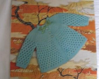 Vintage knitting pattern baby matinee jacket