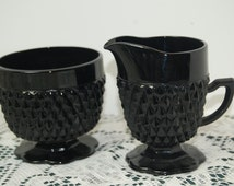 Vintage, Sugar Bowl and Creamer, Black Diamond, Tiara Glassware