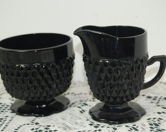 Vintage Sugar Bowl and Creamer, Black Diamond, Home Decor, Fine Dining, Tiara Glassware
