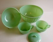 Green Jadeite Fire King Bowls and Cups..Love the green Fire King!