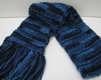 Hand Knit Ribbon Scarf Blue Multi Accessories Knitted Scarves Woman Teen Gift For Her Gift Idea