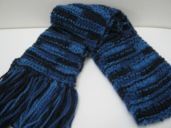 Knitting Patterns Ribbon Scarves : Hand Knit Ribbon Scarf Blue Multi Accessories Knitted Scarves