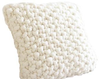 Chunky Pillow, Hand Knit original Pure Merino