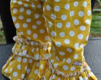 Girls Mustard Yellow Polka Dot Ruffle Pants