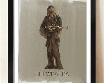Digital Download Star Wars Chewbacca Star Wars Empire Strikes Back Return of The Jedi Poster - Boys Room - 8x10 11x14 12x18