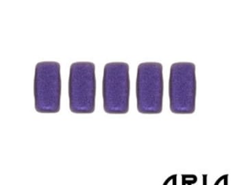 METALLIC SUEDE PURPLE: Two-Hole Czech Glass Brick Beads, 3x6mm (50 beads per strand)