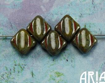 OPAQUE OLIVE TRAVERTINE: 6x6mm Two-Hole Diamond Czech Glass Silky Beads (50 beads)