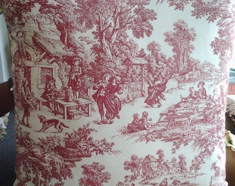 Red French Toile Pillow, 20''x20'' Decorative Pillow Cover, FrenchCountryHome, Country Farmhouse Cottage, ShabbyChicStyle, Toile Bed Pillow