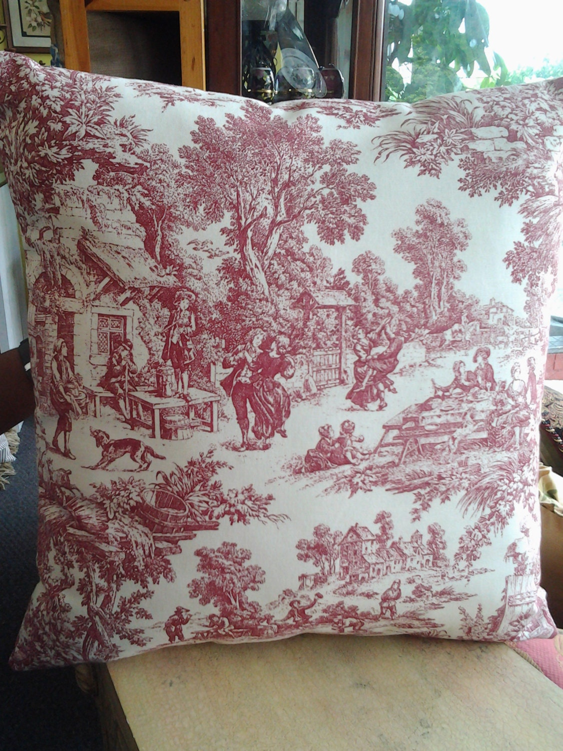 red french toile pillow 18 39 39 x18 39 39 decorative. Black Bedroom Furniture Sets. Home Design Ideas