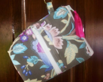 Wristlet- IPhone, Android, SmartPhone; Grey, blue purple floral