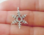 50 Wholesale Silver Snowflake Christmas Charms (Double sided and 3D) 23.50x18x3.50mm