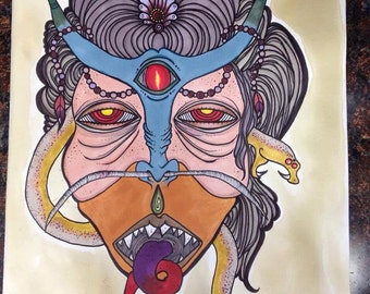 demon mask  Tattoo apprentice flash art print hand signed and numbered 9x14
