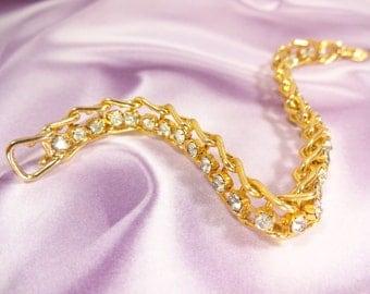Vintage Retro Tennis Bracelet Gold tone Prom Perfect