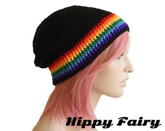 Slouch beanie Rainbow slouch beanie ,slouch beanie, Festival clothing, festival hat, festival wear, Gay pride
