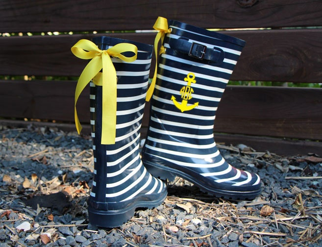 Nautical Navy Stripe Rain Boots with Custom Bow by GoslingBoots