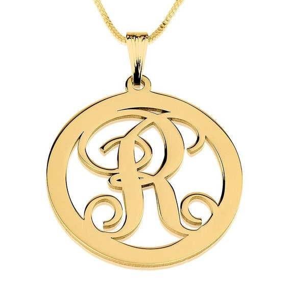 circle initial necklace 24k gold plated cut out by onecklace