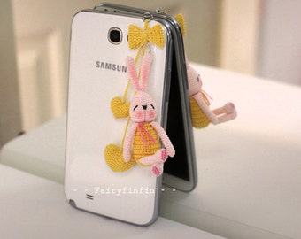 Crochet Rabbit doll  Phone charms, Yellow Bow, Yellow hearts