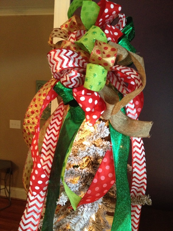 Fun and Colorful Burlap and Ribbon Bow Tree Topper