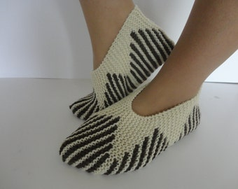 Wool slippers,Knited socks,Women slippers,Handknit wool slippers