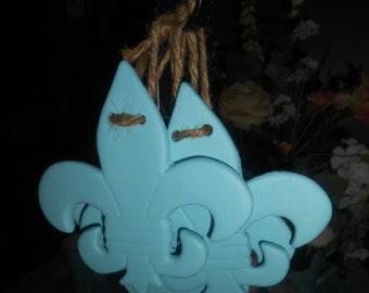 Handpainted, Aqua, Ceramic, Shabby Chic, Fleur De Lis, Hanging Ornaments