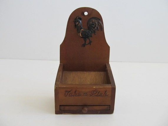 Wooden toothpick holder take a pick toothpick holder - Wooden pocket toothpick holder ...
