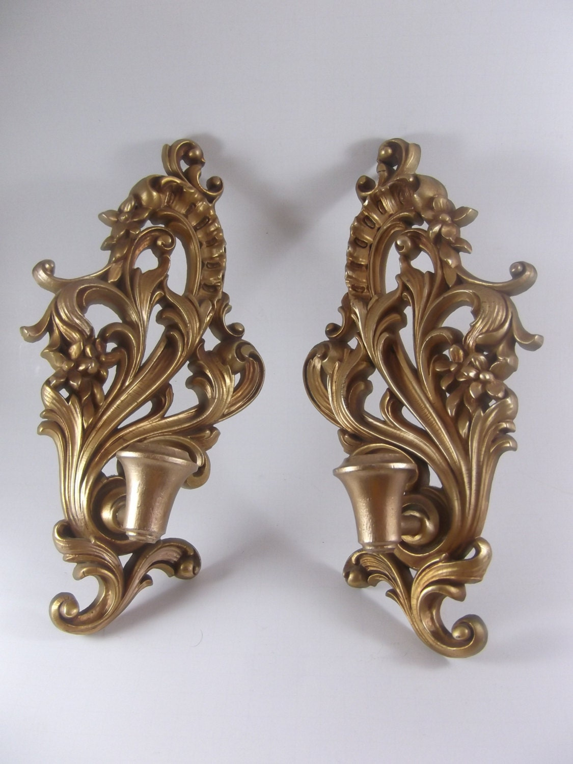 Wall Candle Sconces Wood : Wood Candle Sconce Pair Vintage Wall Mount Gilt by acornabbey