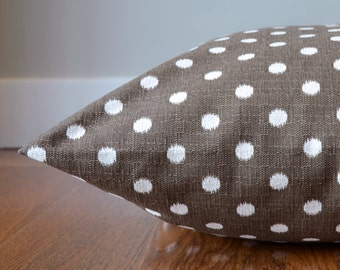 Dog Bed Cover, Ikat Polka Dot Brown and White Pet Bed, Personalizable Duvet Cover, Choose Your Size