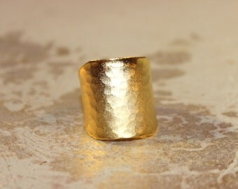 22 Karat Hammered Gold Cigar Band Ring