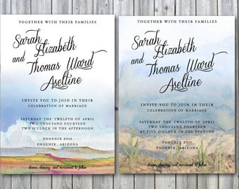 Items similar to southwestern desert joshua tree wedding for Joshua tree wedding invitations