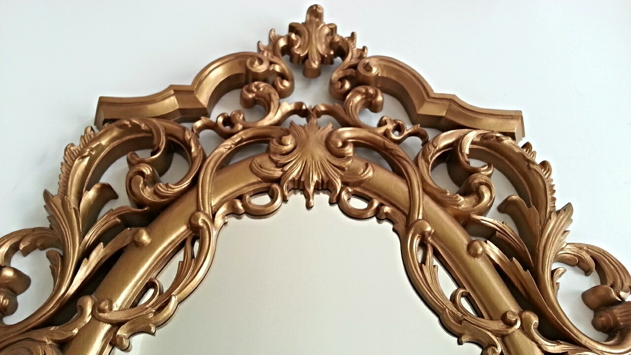 Rococo style gold mirror ornate mirror by hingemodernvintage for Baroque resin mirror