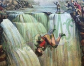 Waterfall Jumper Printable Image Salvaged Victorian Oddity Scrap Man Falling Over Cliff Weird Creepy Illustration Artistic Vintage Picture