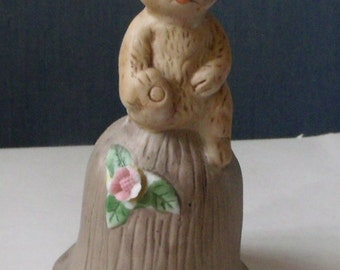 Ceramic Bisque Bell-Bear on a Stump