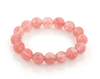 Stretch bracelet cherry quartz 12mm faceted | elastic beaded bracelet