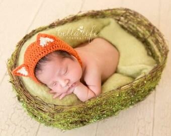 Newborn Fox Bonnet, Baby Fox, Animal Bonnet, Woodland Theme Bonnet, Fox Bonnet, Baby Bonnet, Baby Gift,  Fox Prop, Photography Props