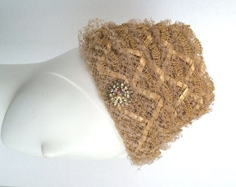 An Original Natural Straw Vintage Hat by Helen Brounet California