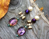 Pink Purple and Pearl Dangle Clip On Earrings, Sparkly Clip Earring, Bow Jewelry,