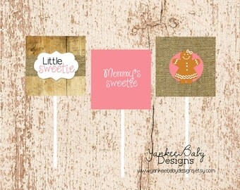 Little Sweetie - GIRL Gingerbread Cupcake Toppers
