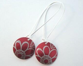 Flower pattern anodised aluminium earrings
