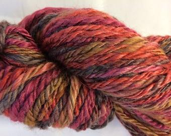 Handspun Merino/Silk Fushcia/Red/Gold/Grey 3-ply Bulky 8wpi Approx 50 yards