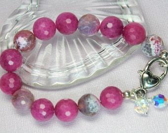 Pink Jade Bracelet, Large Agate Gemstones, Swarovski Crystals, Beaded Bracelet, Large Stones, Pink and Silver Bracelet, Boho Style