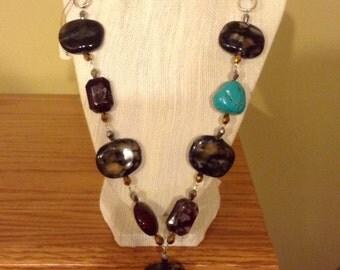 Stone, Turquoise, ribbon necklace