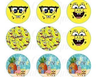 Sponge Bob Bottle Cap Images, Instant Download