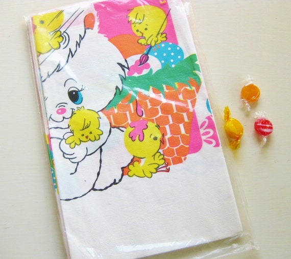 "Vintage Easter Bunny tablecloth in wraps. Paper, 52"" x 96"""
