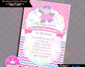 Hippo Invitations party, Hippo Invitation Birthday Girl, PINK purple Hippo printable invites, Hippo Party Supplies