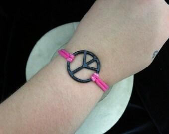 Vintage Pink Elastic Peace Sign Bracelet