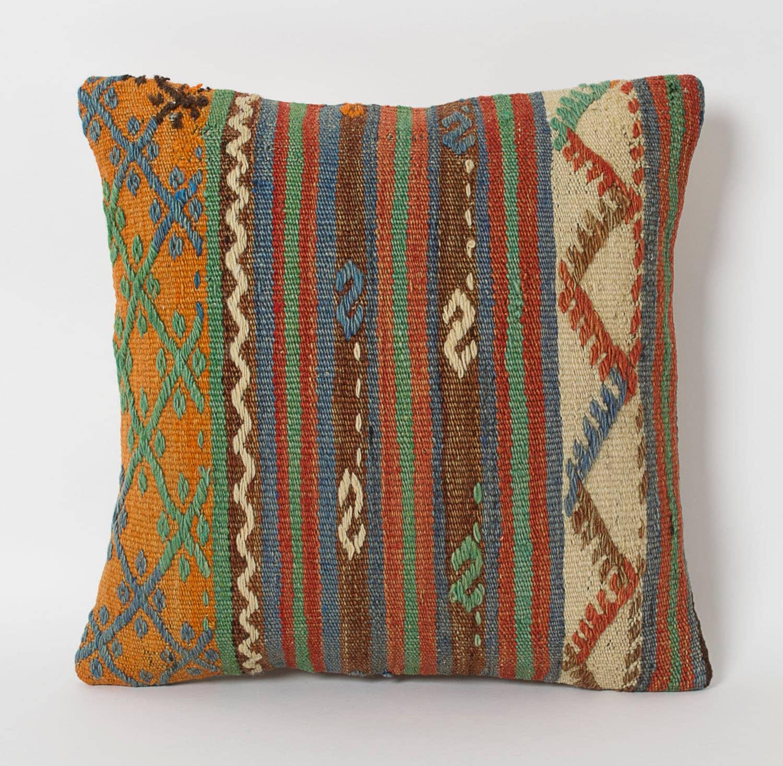 Turkish Kilim Pillow Home Decor Decorative Pillow Home: Kilim Pillows 16x16 Ethnic Home Decor Cushion Tribal