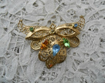 Rhinestone glass brooch