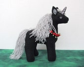 Plush Mini Black and Silver Unicorn with Flower Chain