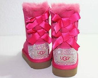 older girls customised bailey bow c erise pink ugg boots. Black Bedroom Furniture Sets. Home Design Ideas