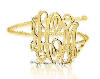 14K Solid Gold Monogram Necklace -  Personalized Gold Necklace 1 inch